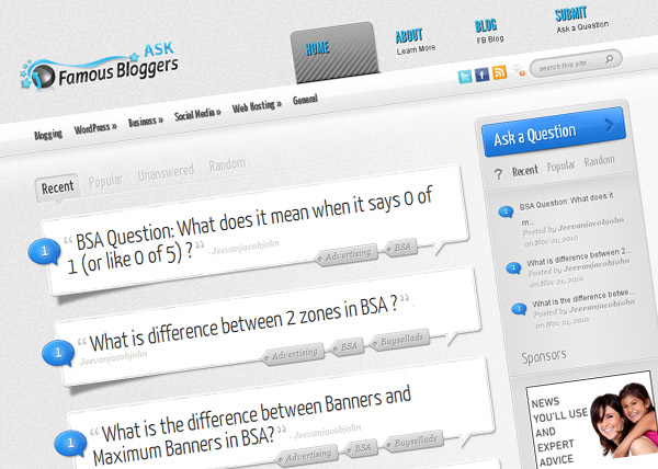 Ask Famous Bloggers - Free Blogging Advice
