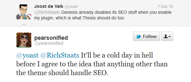 Joost & Chris tweet about SEO functions