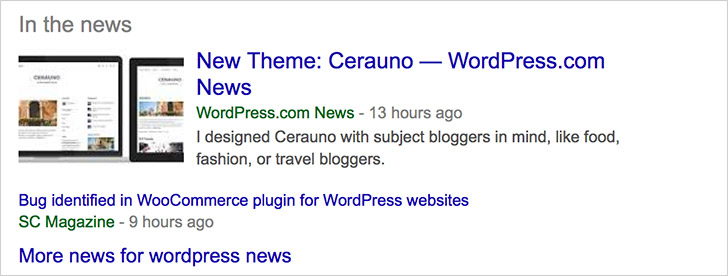 Schema for Article in search results