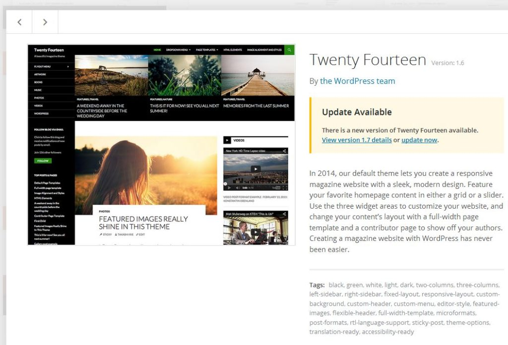 Twenty Fourteen default WordPress theme